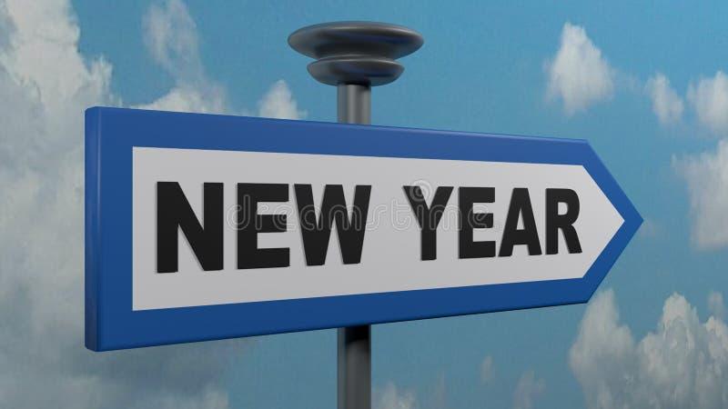 Błękitny strzałkowaty znaka ulicznego nowy rok - 3D renderingu ilustracja ilustracji