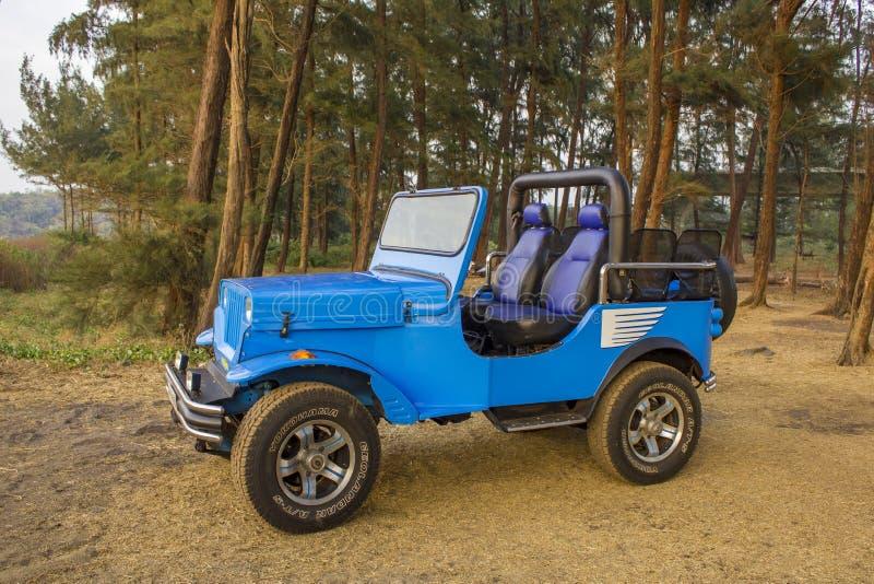 B??kitny SUV kabriolet w lesie na tle zieleni igla?ci drzewa zdjęcia royalty free