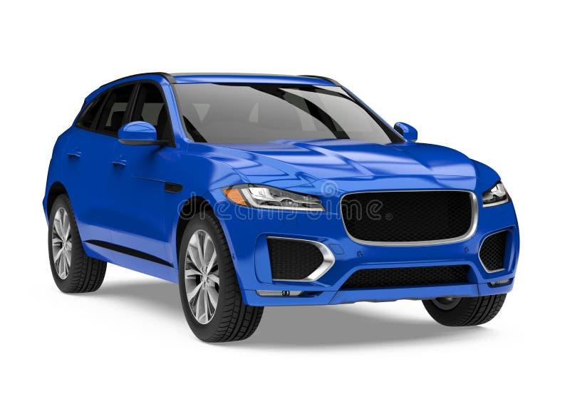Błękitny SUV samochód Odizolowywający royalty ilustracja