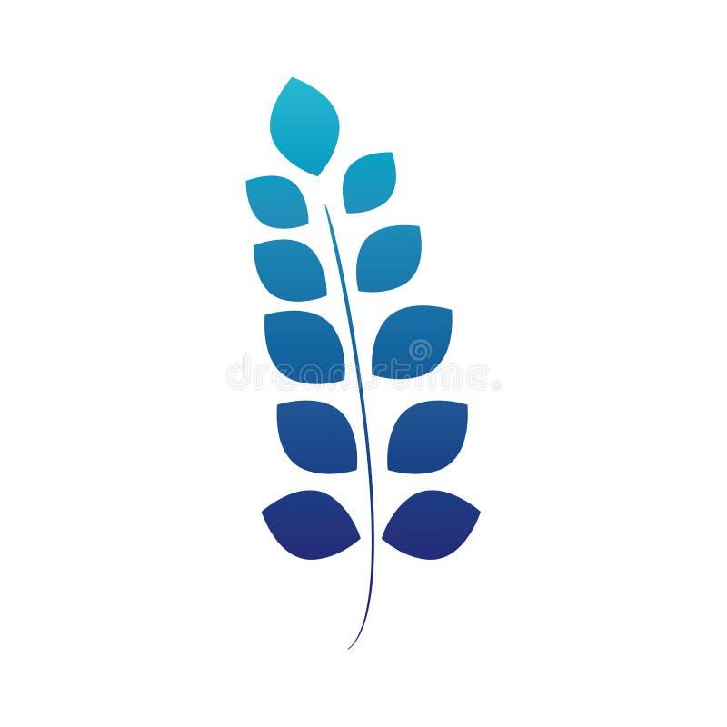 Błękitny sylwetka egzot rozgałęzia się liść rośliny projekt ilustracji