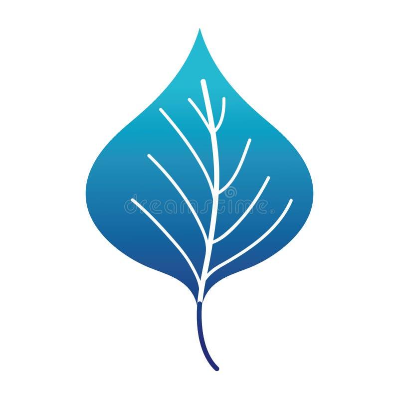 Błękitny sylwetki rośliny liścia projekt naturalna ikona ilustracja wektor