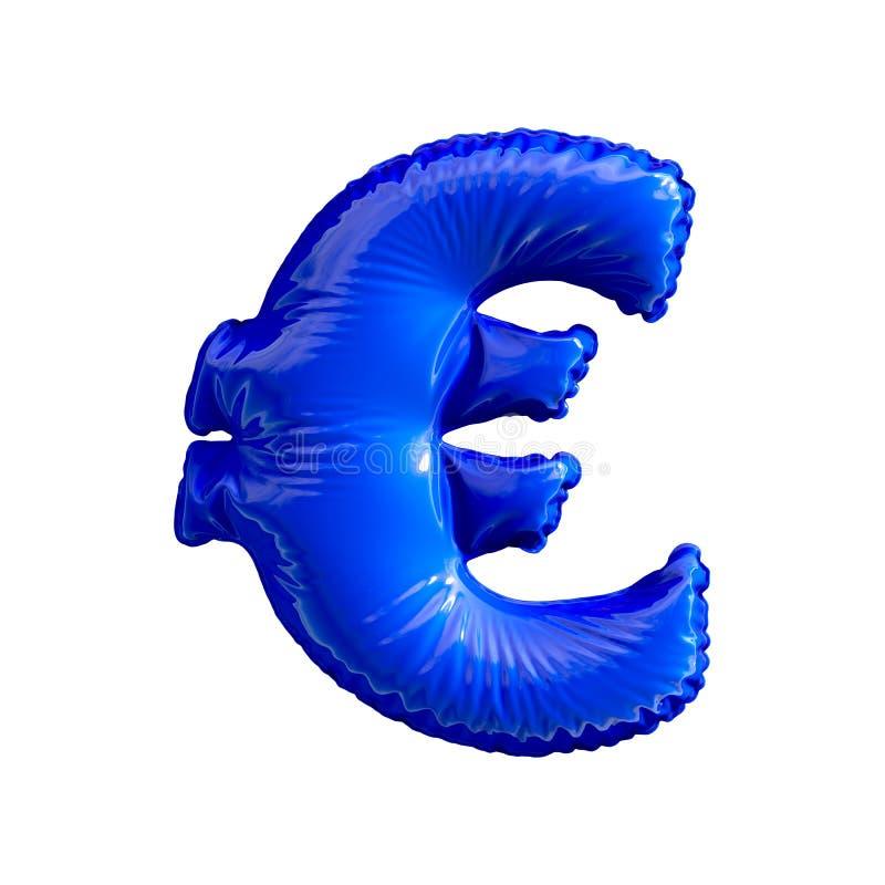 Błękitny symbolu euro robić nadmuchiwany balon odizolowywający na białym tle royalty ilustracja