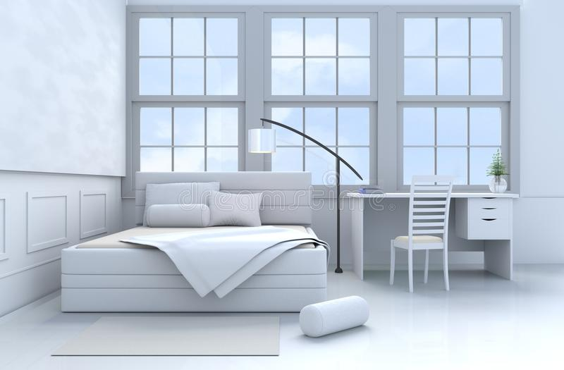 Błękitny sypialni 3d rendering fotografia stock