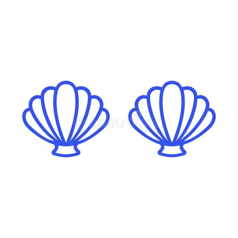 Błękitny syrenka stanik Kontur syrenki wierzchołek - koszulka projekt Przegrzebek denna skorupa milczek koncha Seashell - płaski  ilustracji