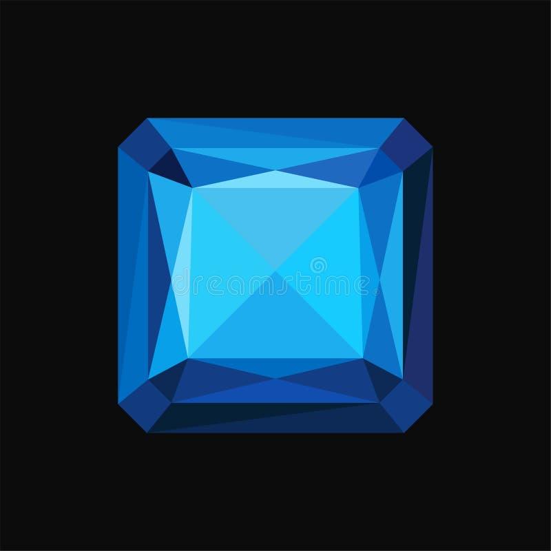 Błękitny szafirowy cenny kwadrata kamień, gemstone wektorowa ilustracja na czarnym tle royalty ilustracja