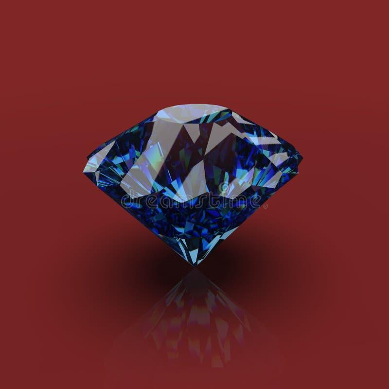 Błękitny Szafirowy diament 3D odpłaca się ilustracji