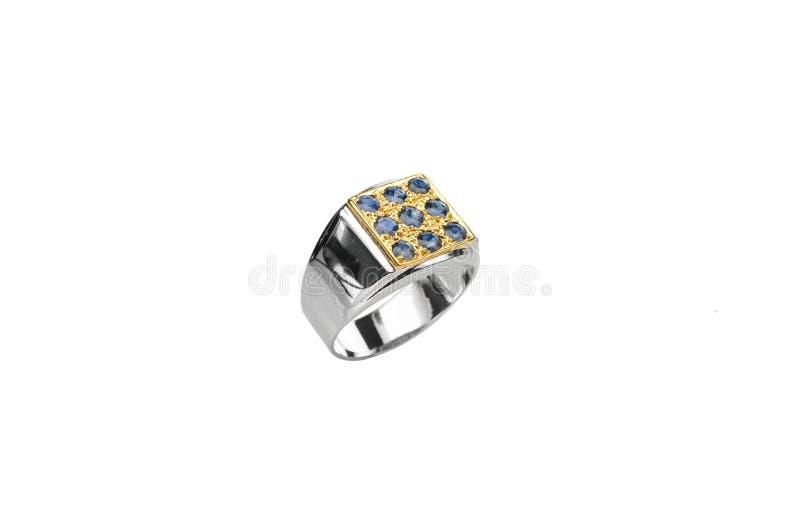Błękitny szafiru srebra pierścionek zdjęcie royalty free