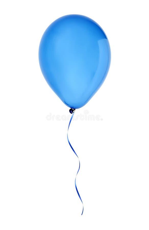 Błękitny szczęśliwy lotniczy latanie balon odizolowywający na bielu fotografia royalty free