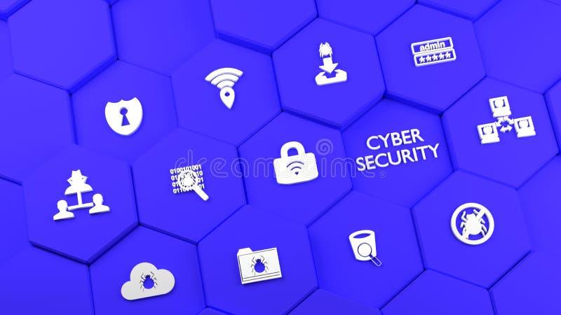 Błękitny sześciokąt góruje z cybersecurity ikonami ilustracja wektor