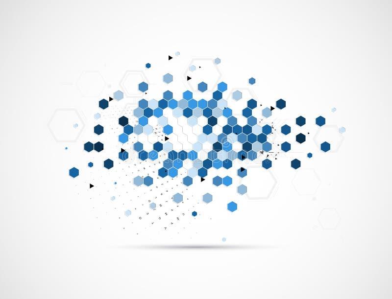 Błękitny sześciokąt technologii tło ilustracji