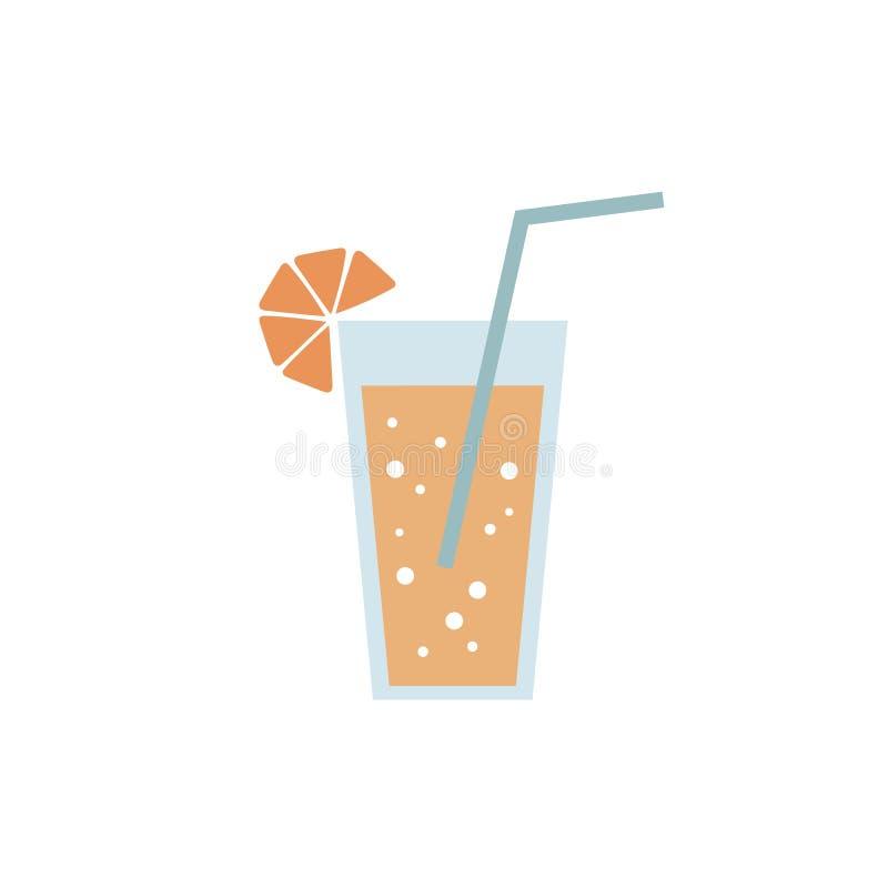 Błękitny szkło sok pomarańczowy restauracyjna cukierniana lemoniada z cytryna napoju napoju czerni ikony znakiem na białym tle ilustracja wektor