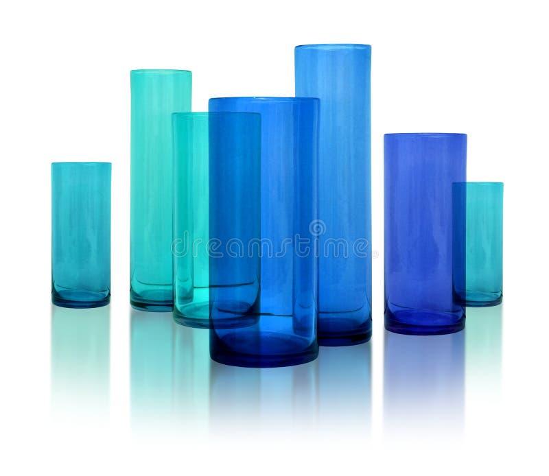 błękitny szklane nowożytne wazy obrazy stock