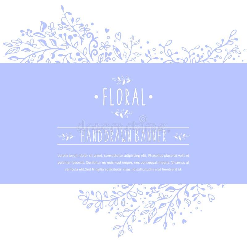 Błękitny sztandar z kwiatów ornamentami i wzorami ilustracja wektor