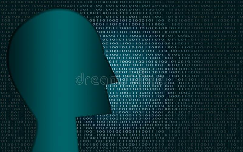 Błękitny sztuczny inteligentny z ludzką głową royalty ilustracja
