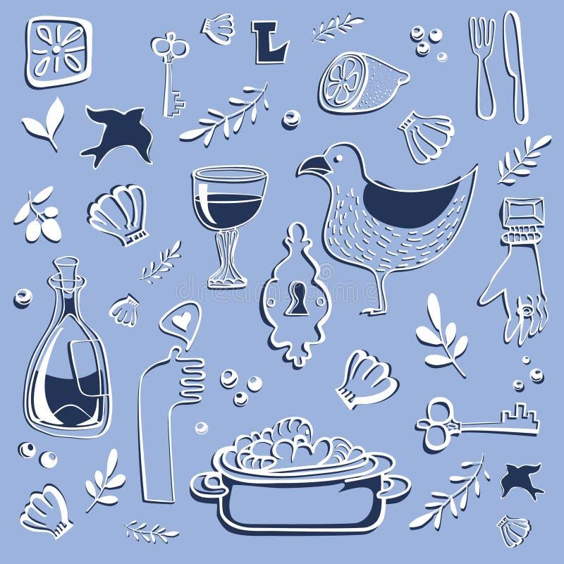 Błękitny tło z dennymi rzeczami ilustracja wektor