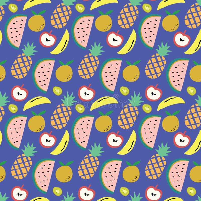Błękitny tło z owoc wzorem arbuz, ananas, banan, jabłko i kiwi, ilustracja wektor