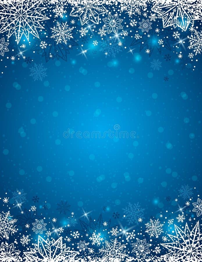 Błękitny tło z ramą płatki śniegu i gwiazdy, wektor ilustracji