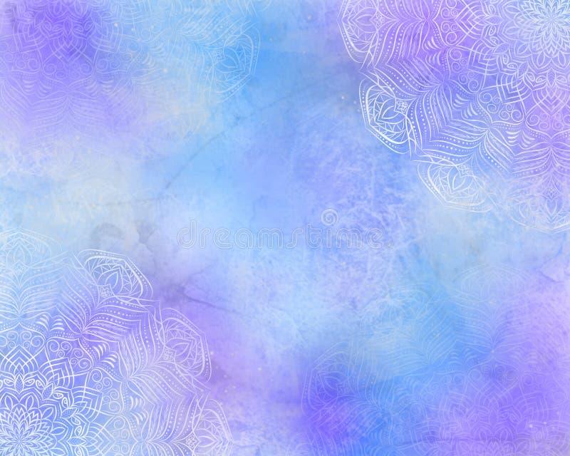 Błękitny tajemniczy abstrakcjonistyczny mandala tło z purpurami, barwi ilustracji
