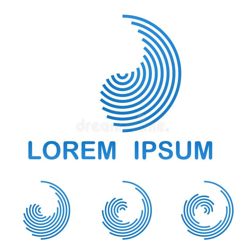 Błękitny telekomunikacyjny loga projekta ikony set royalty ilustracja