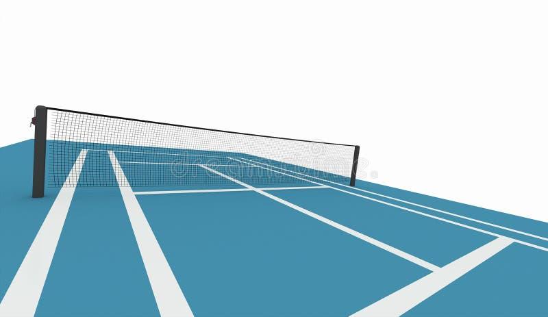 Błękitny tenisowy sąd odizolowywający na bielu royalty ilustracja