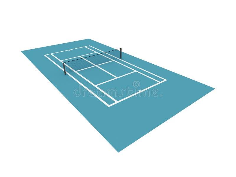 Błękitny tenisowy sąd odizolowywający na bielu ilustracja wektor