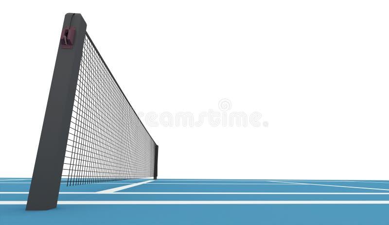 Błękitny tenisowy sąd odpłacający się odizolowywającym ilustracji