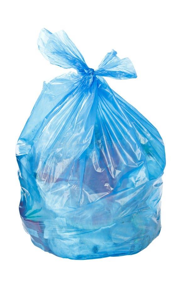 Błękitny torba na śmiecie obrazy stock
