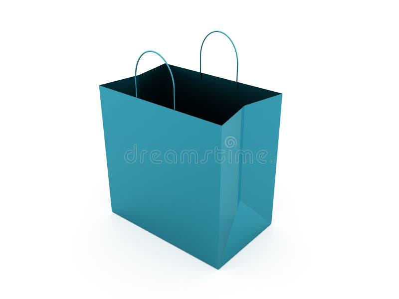Błękitny torba na zakupy odizolowywający na bielu royalty ilustracja