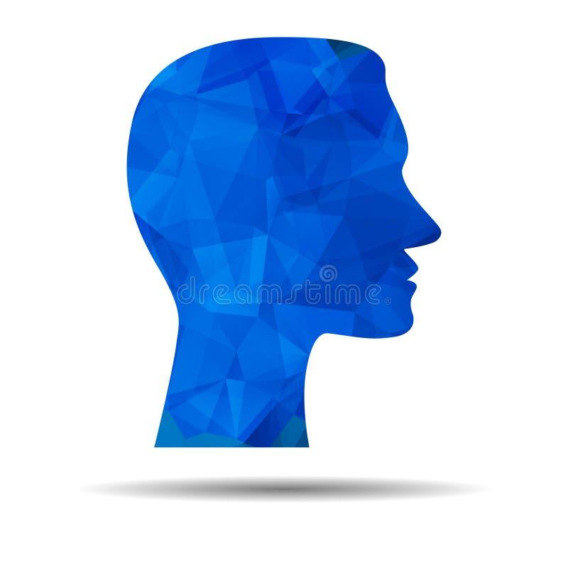 Błękitny trójboka mózg, ikona, Kreatywnie umysłu, uczenie i projekta, Ab royalty ilustracja
