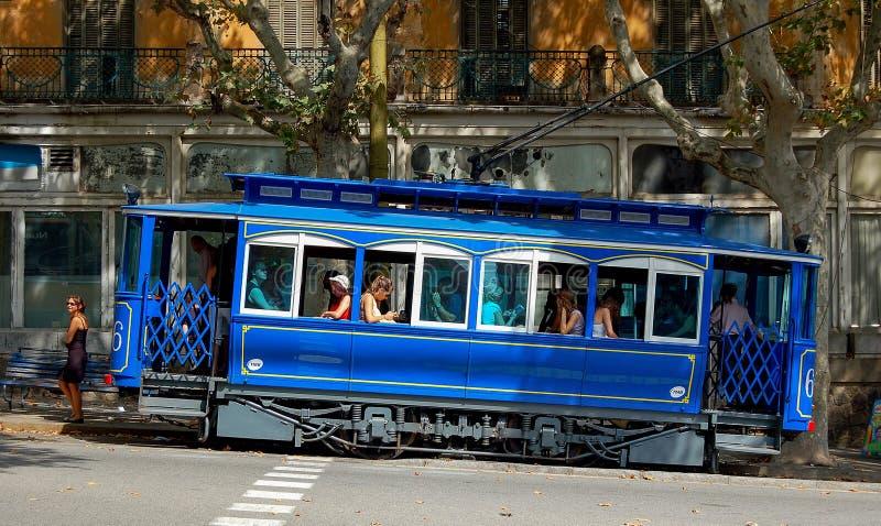 Błękitny tramwaj - Barcelona obraz royalty free