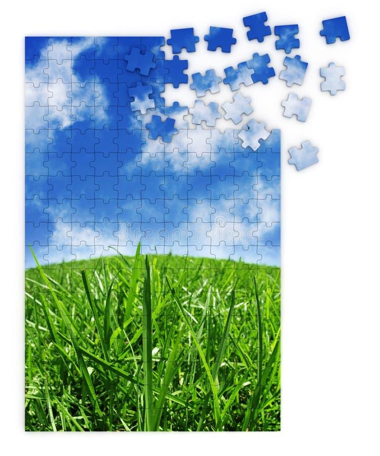 błękitny trawy zieleni łamigłówka obraz royalty free