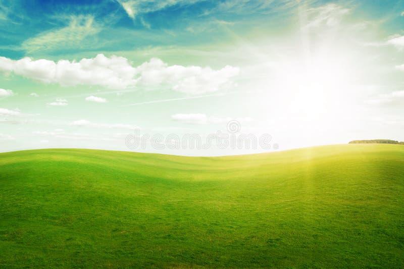 błękitny trawy zieleni wzgórzy midday nieba słońce fotografia royalty free
