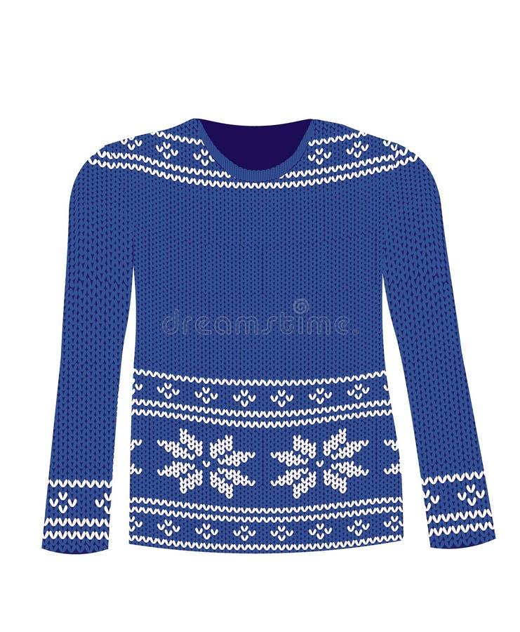 Błękitny trykotowy pulower z Północnym wzorem royalty ilustracja