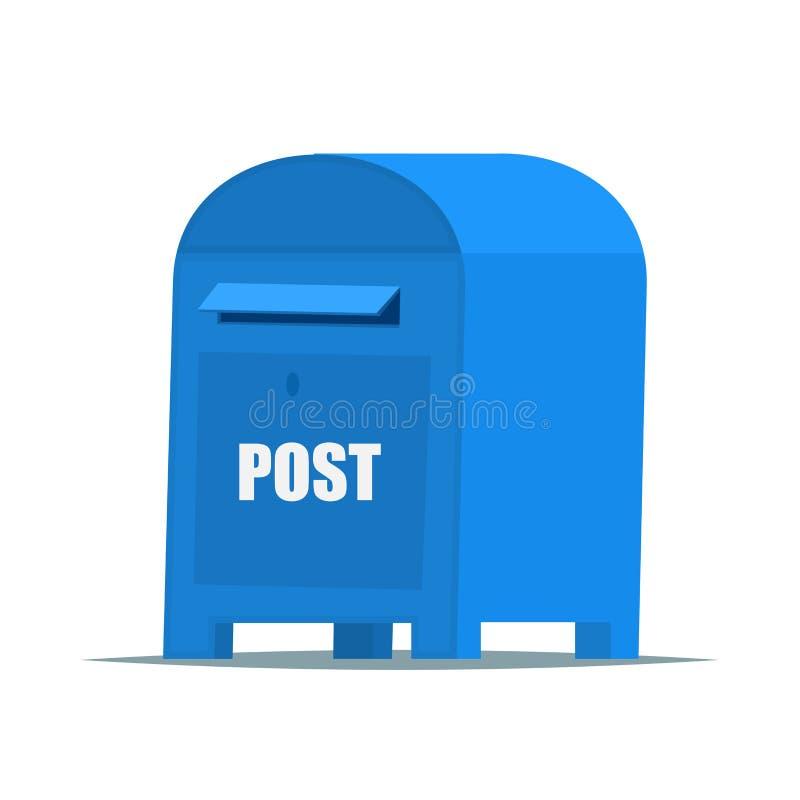 Błękitny Uliczny Postbox w płaskim wektoru stylu dla sieci lub ilustraci ilustracja wektor