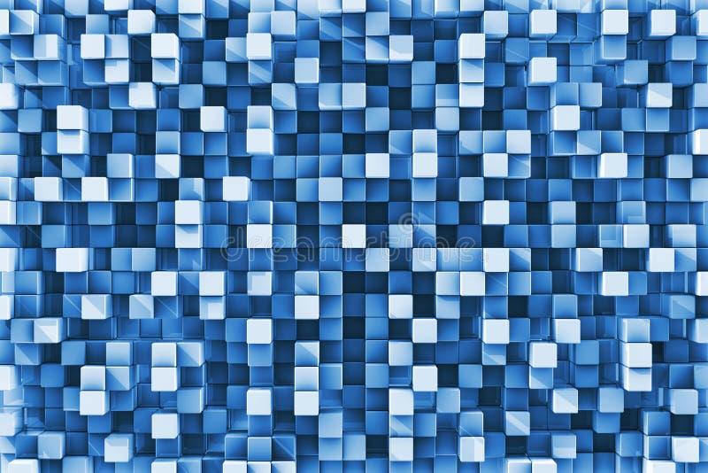 Błękitny W kratkę Odbijający sześcianu tło royalty ilustracja