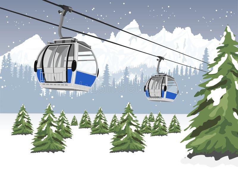 Błękitny wagonu kolei linowej dźwignięcie przy ośrodkiem narciarskim w zimie przed majestatycznymi górami ilustracji