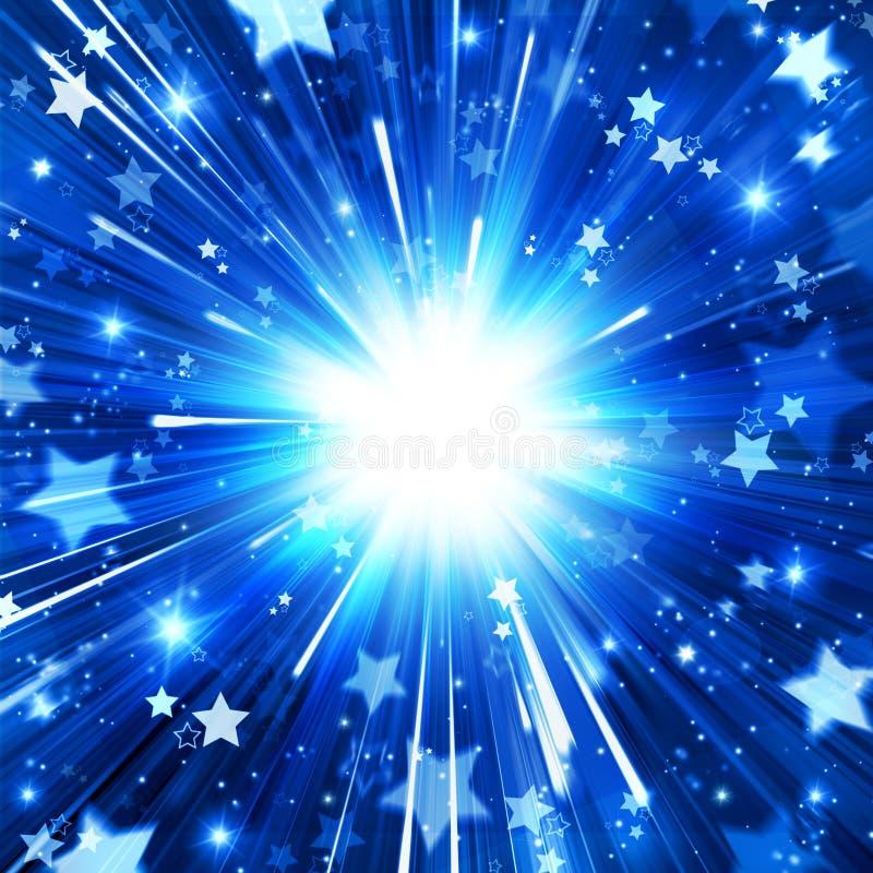 Błękitny wakacyjny tło, abstrakcja, gra główna rolę wybuch, jaskrawego, błyskotliwość, promienie, gwiazdy, przyjęcie, fajerwerki, ilustracja wektor