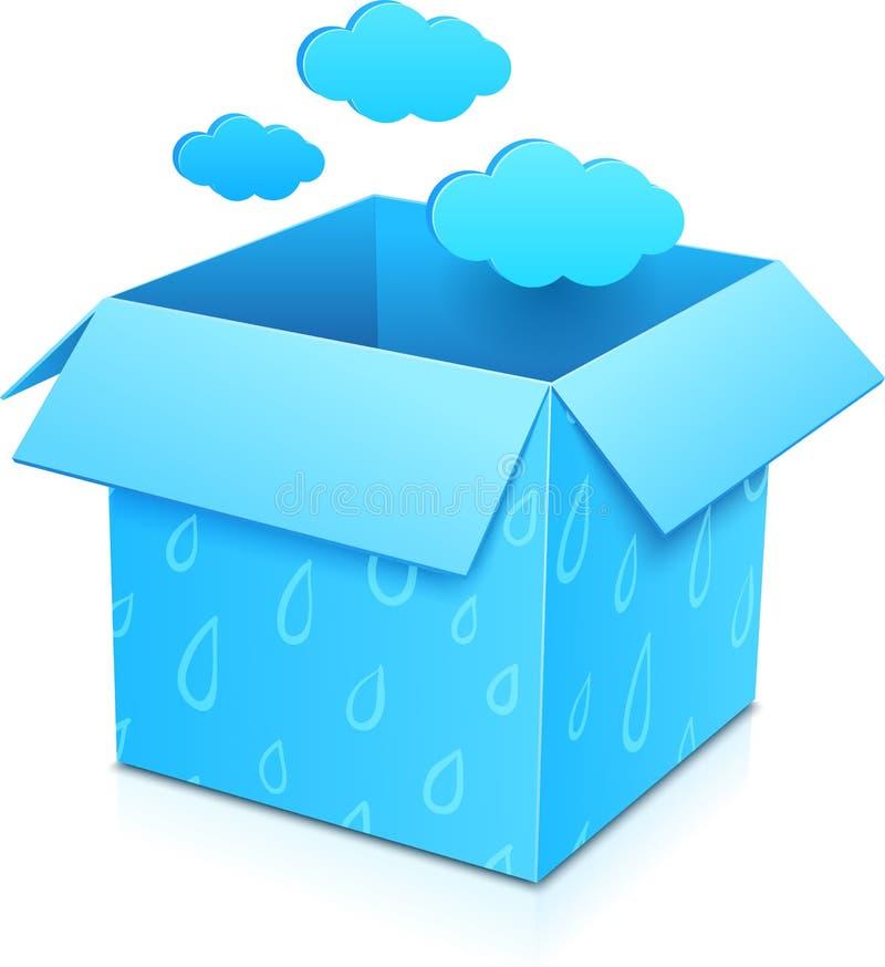 Błękitny wektorowy prezenta pudełko z latanie chmurami royalty ilustracja