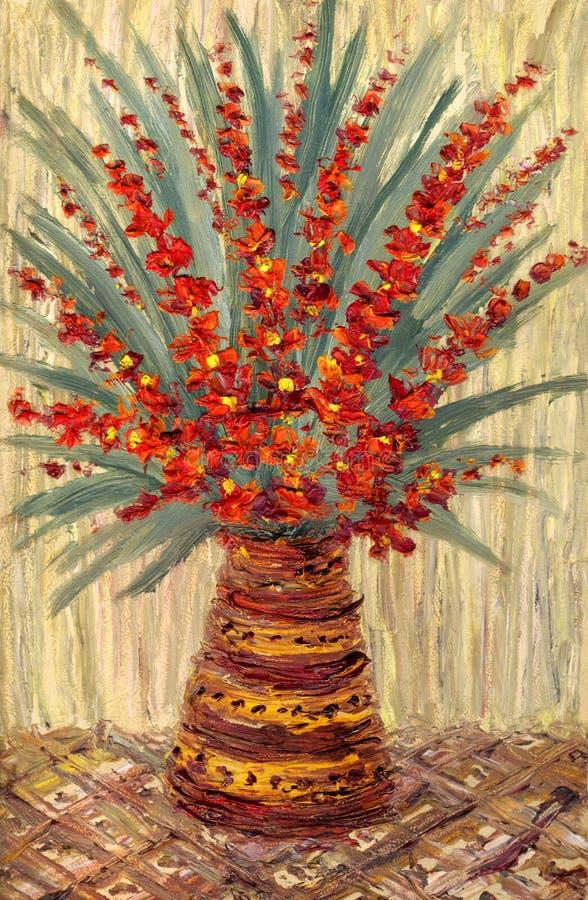 błękitny wiązek kwiaty target755_1_ życia oleju menchie wciąż zgłaszają wazę Bukiet z sprigs jaskrawi czerwoni kwiaty ilustracja wektor