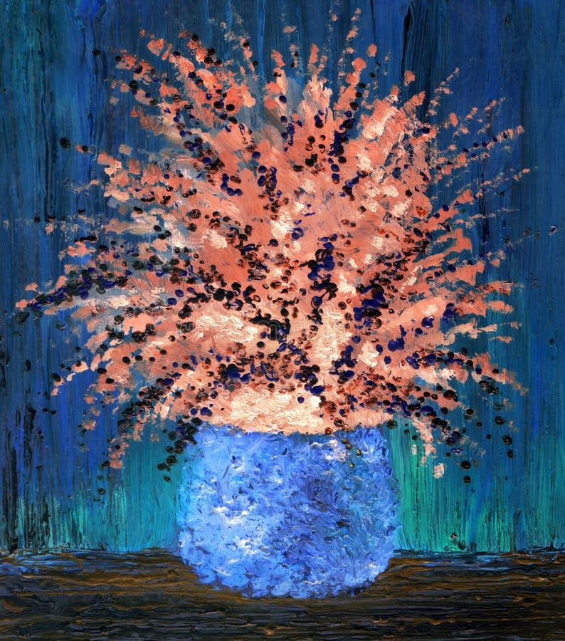 błękitny wiązek kwiaty target755_1_ życia oleju menchie wciąż zgłaszają wazę Wymuskany bukiet delikatni kwiaty w round vas ilustracji
