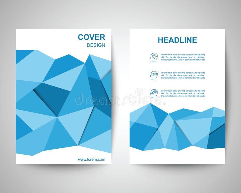 Błękitny wielobok ulotki a4 szablon ilustracji