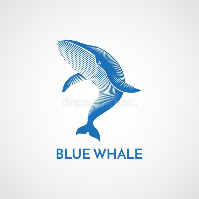 Błękitny wieloryb wyszczególniał loga emblemata wektoru szyldowego illustratio royalty ilustracja