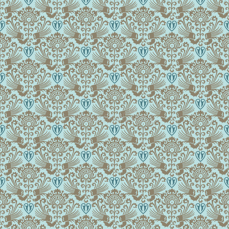 Błękitny wiktoriański rocznika adamaszka bezszwowa tapeta ilustracji