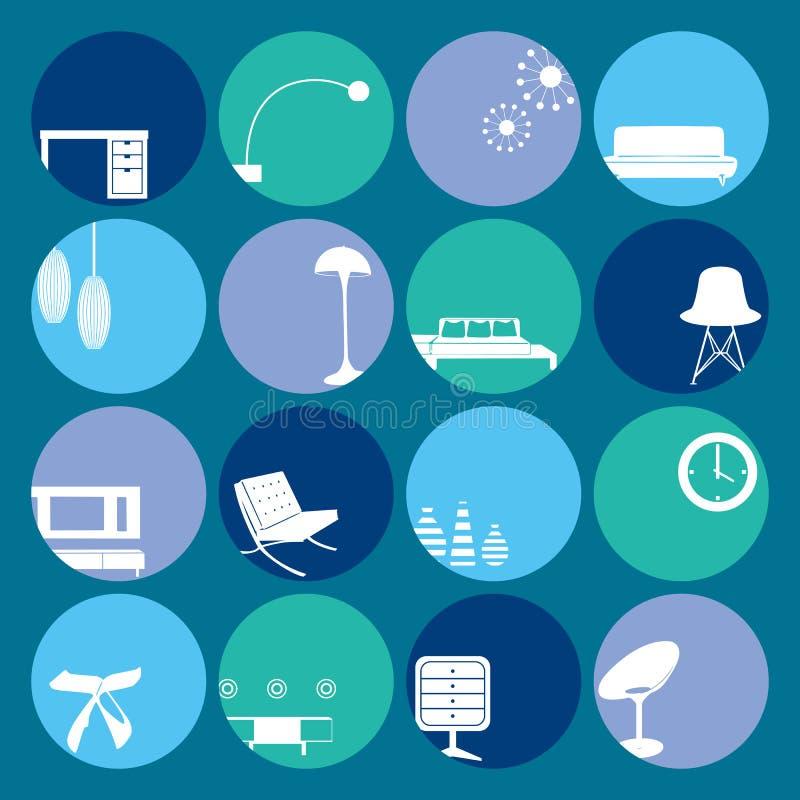 błękitny wnętrze ornamentuje set ilustracji