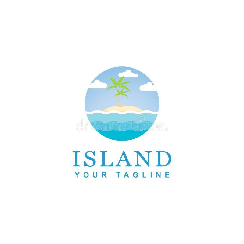 Błękitny wyspa loga projekt, projekt plaży okręgu temat ilustracji