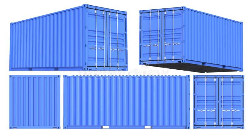 Błękitny wysyłka ładunku zbiornik Dwadzieścia cieków dla logistyk i transportu Set przód, plecy, strona i perspektywa, ilustracji