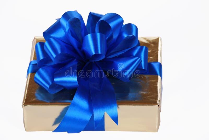 błękitny złota teraźniejszości faborki zdjęcie stock