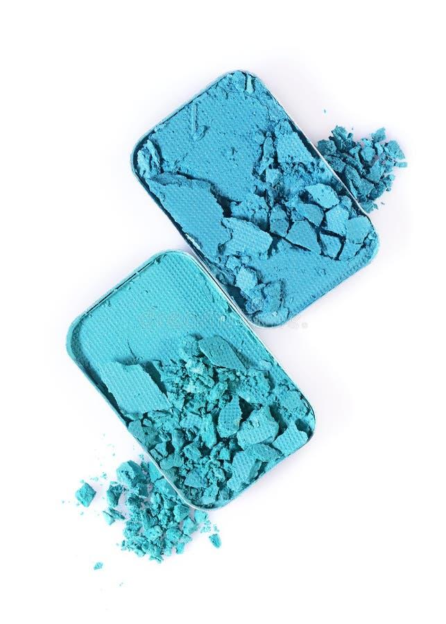 Błękitny zdruzgotany eyeshadow dla uzupełniał jak próbka kosmetyczny produkt zdjęcia stock