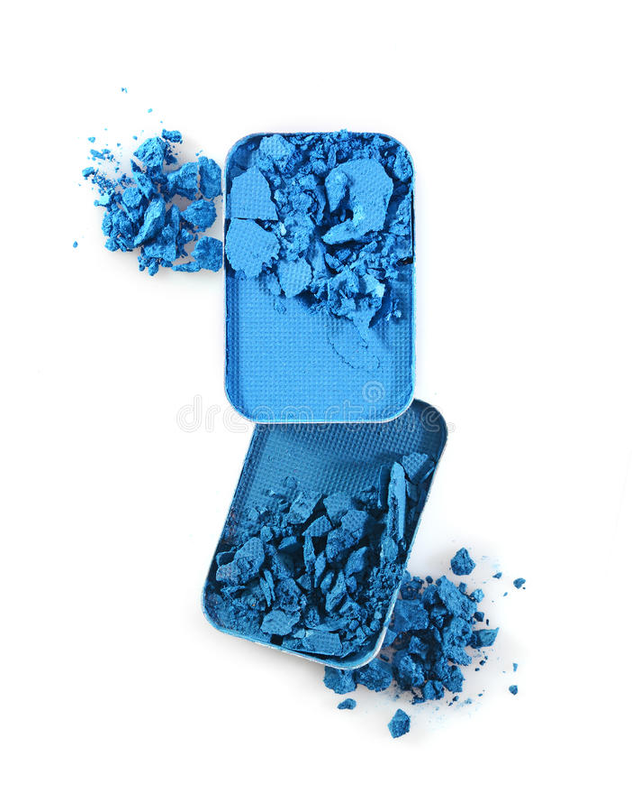 Błękitny zdruzgotany eyeshadow dla uzupełniał jak próbka kosmetyczny produkt obraz stock
