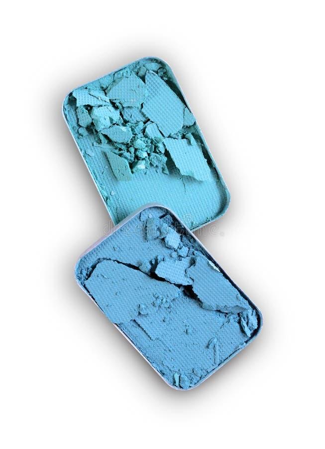Błękitny zdruzgotany eyeshadow dla uzupełniał jak próbka kosmetyczny produkt fotografia royalty free